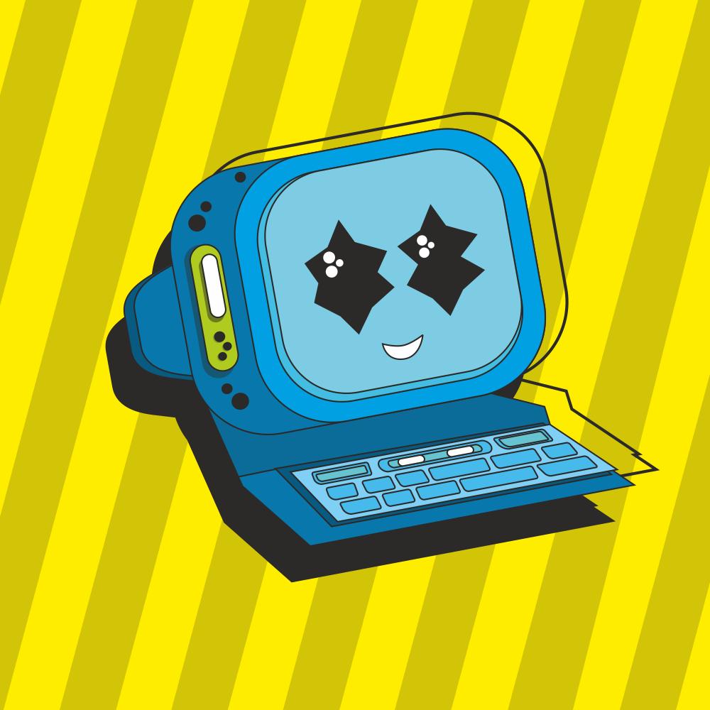 computer robot looks cute. a cute game design